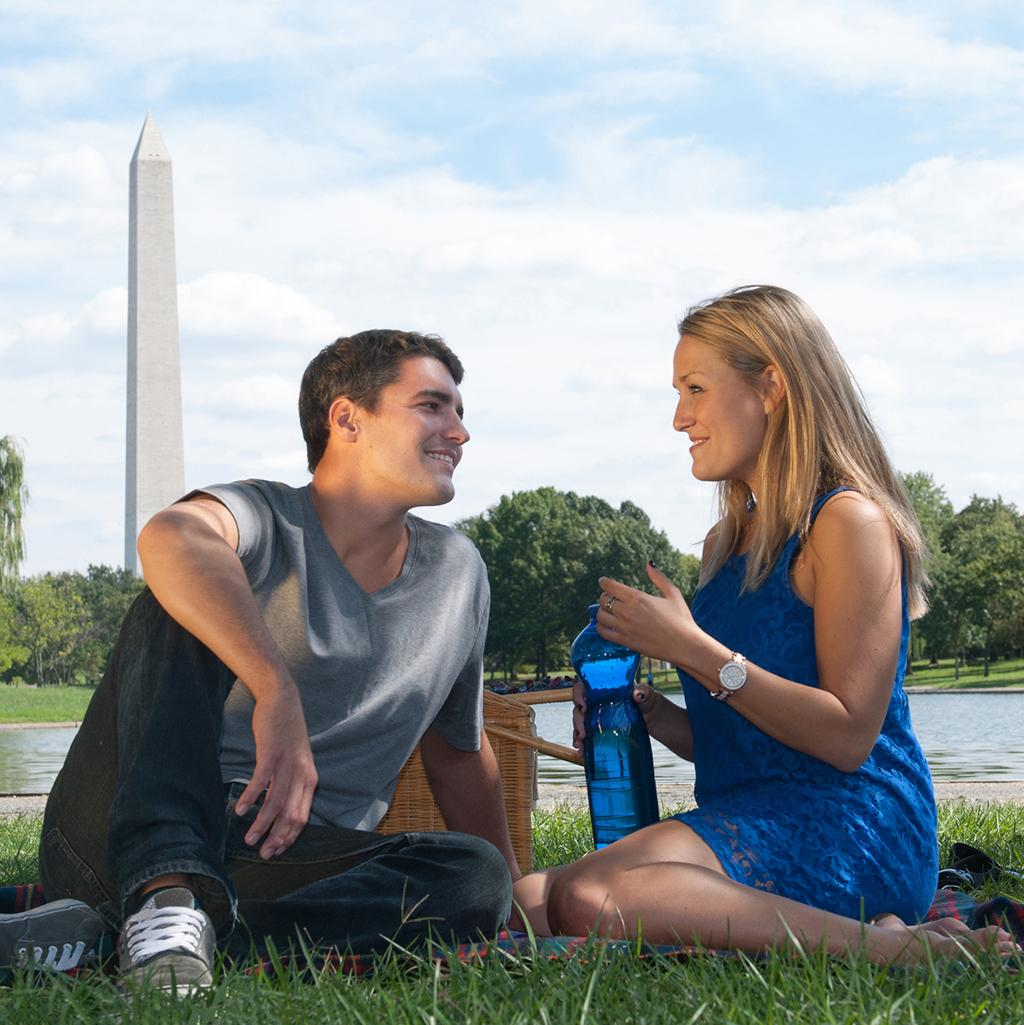 A couple sitting in the park on a tour in Washington D.C.