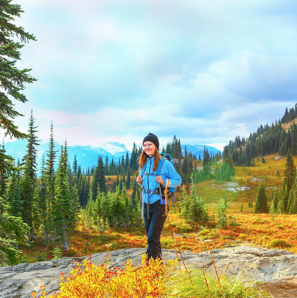 Woman hiking through Olympic National Park in Washington