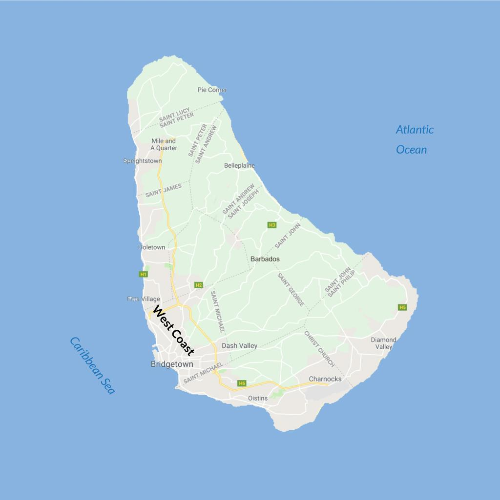 West Coast of Barbados vacations map