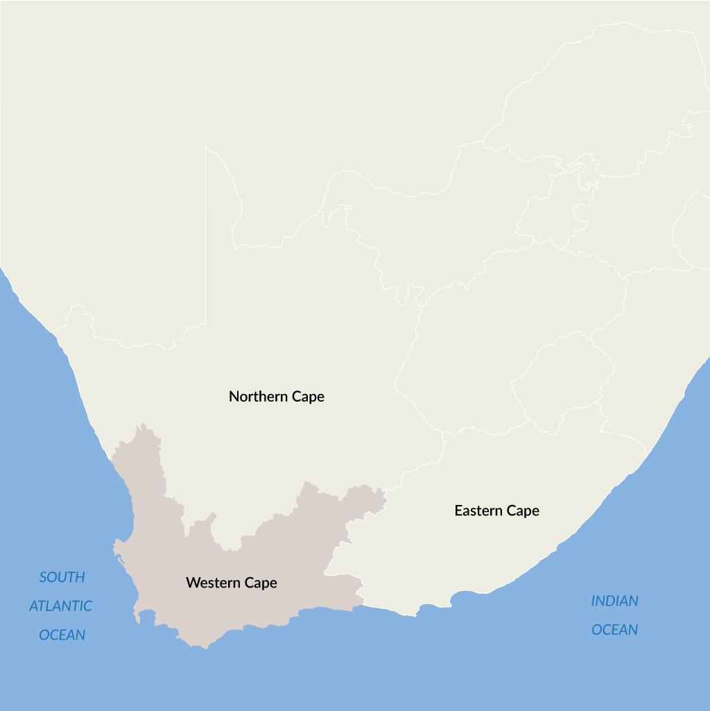 Western Cape vacations map