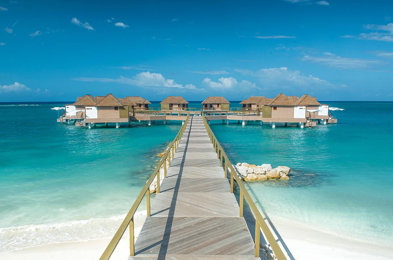 Overwater bungalows in Whitehouse Jamaica