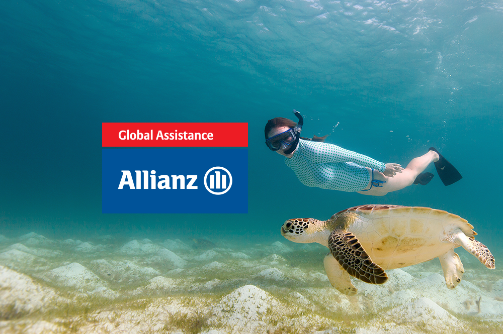 Swimming with turtles and Allianz Global Assistance logo