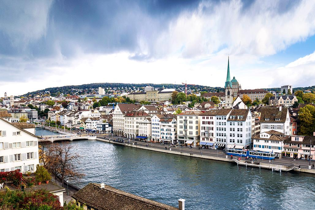 Beautiful views of the Limmat River in Zurich