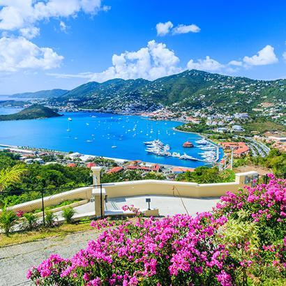 coastline view of ships docked along the beautiful shores of Saint Thomas