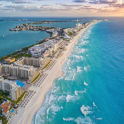 aerial views of Cancun, Mexico coastline