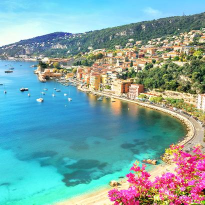 beautiful sun filled view of the coastline of the French Riviera