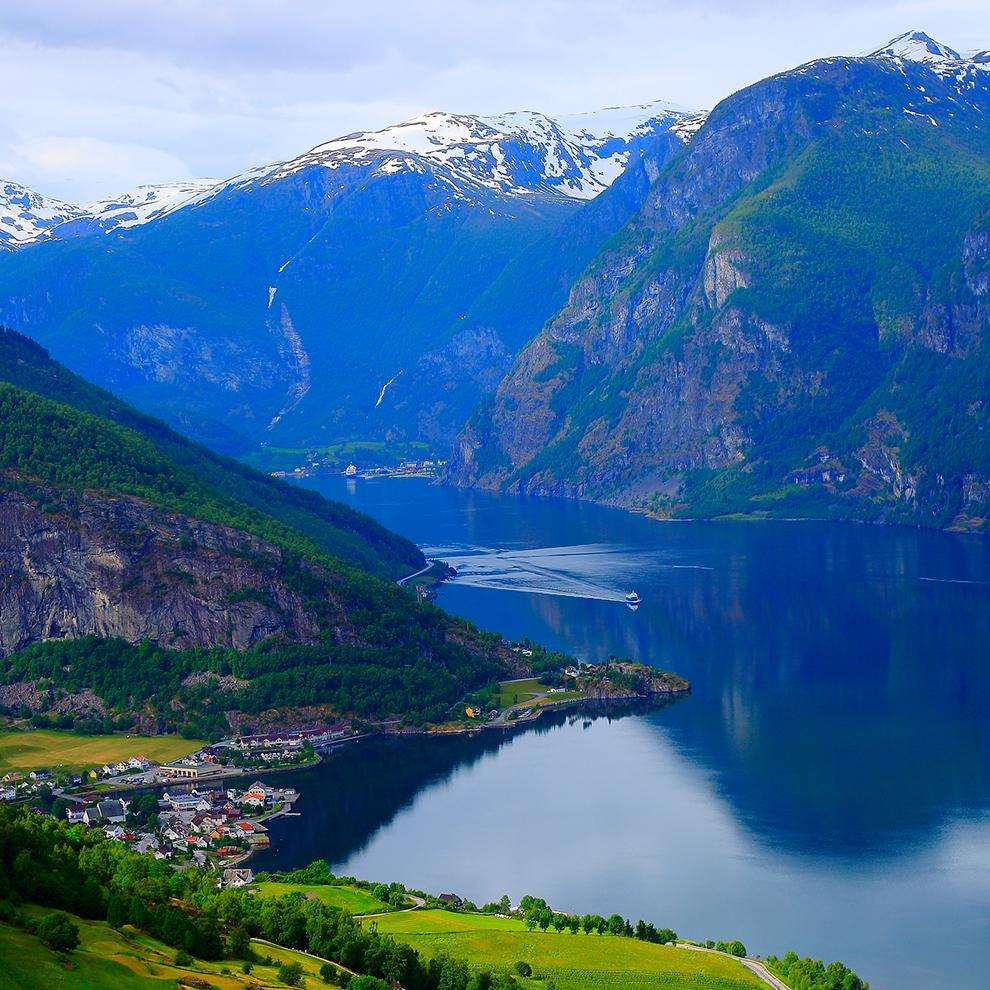 Aerial views of Bergen fjords in Norway