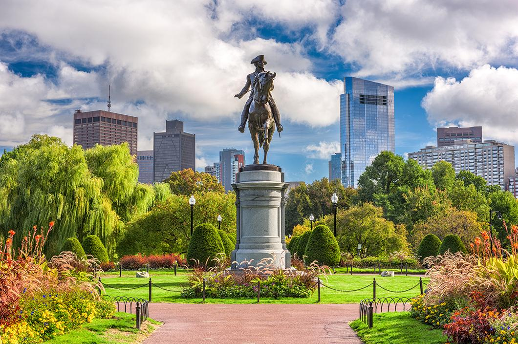 Statue in Boston Commons, a popular vacation attraction