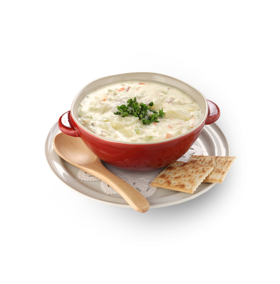 Clam chowder, a famous dish in Boston, Massachusetts