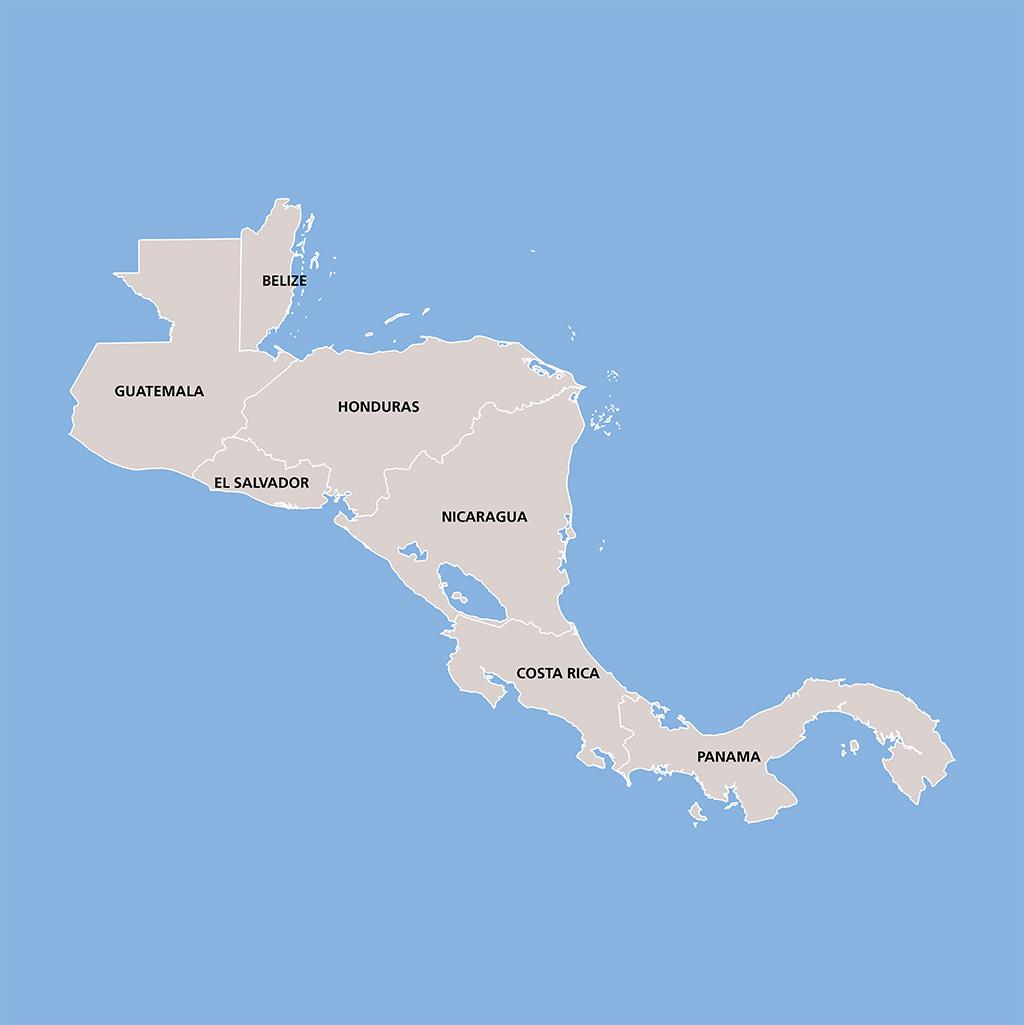 Central America vacation map