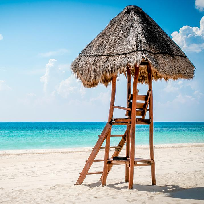 lifeguard chair on a beach at Valentin Imperial Riviera Maya, Mexico