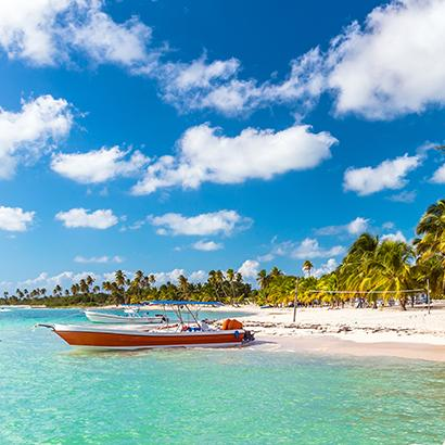 small boat on the shores of the Dominican Republic