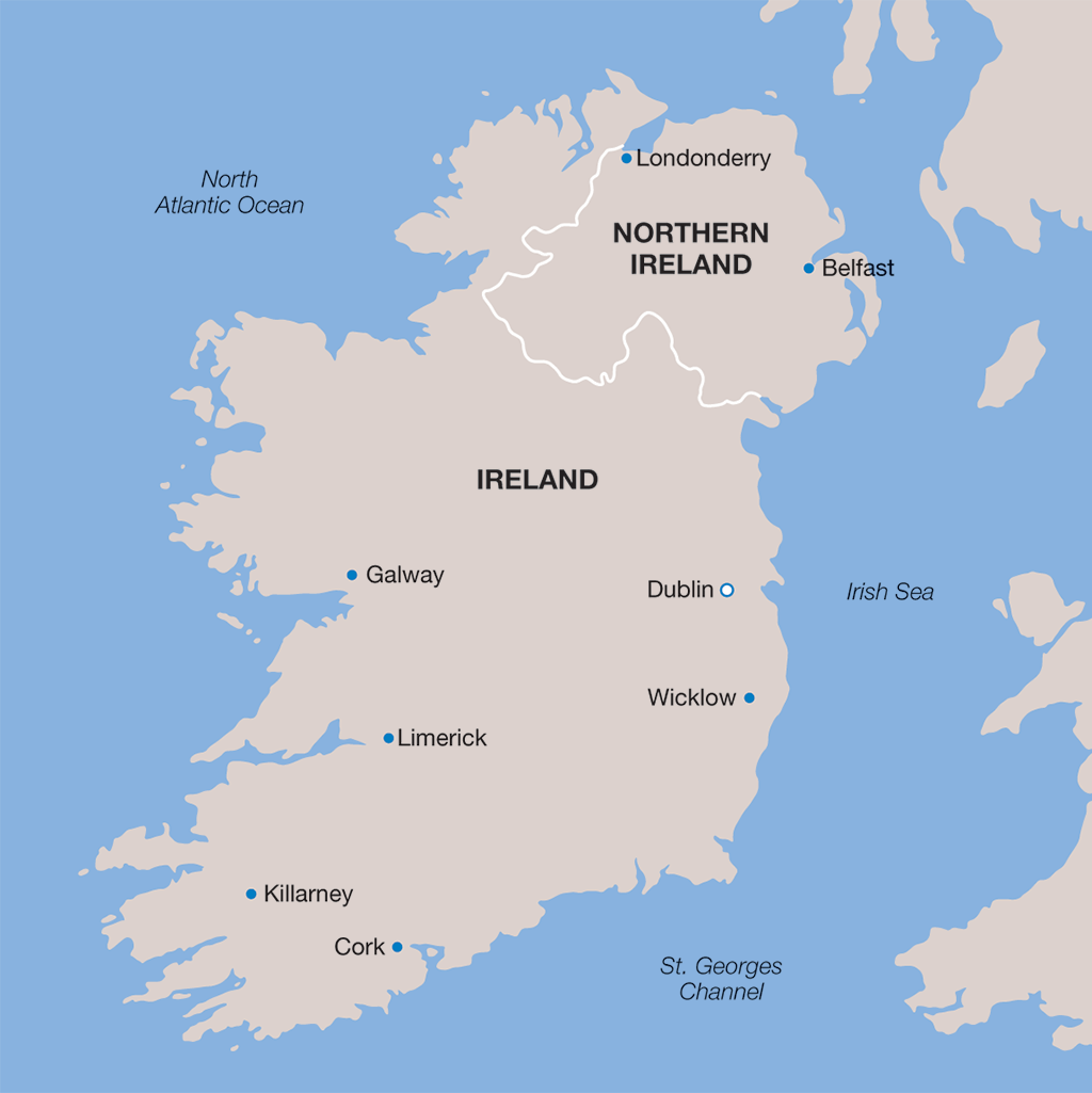 Ireland vacation map