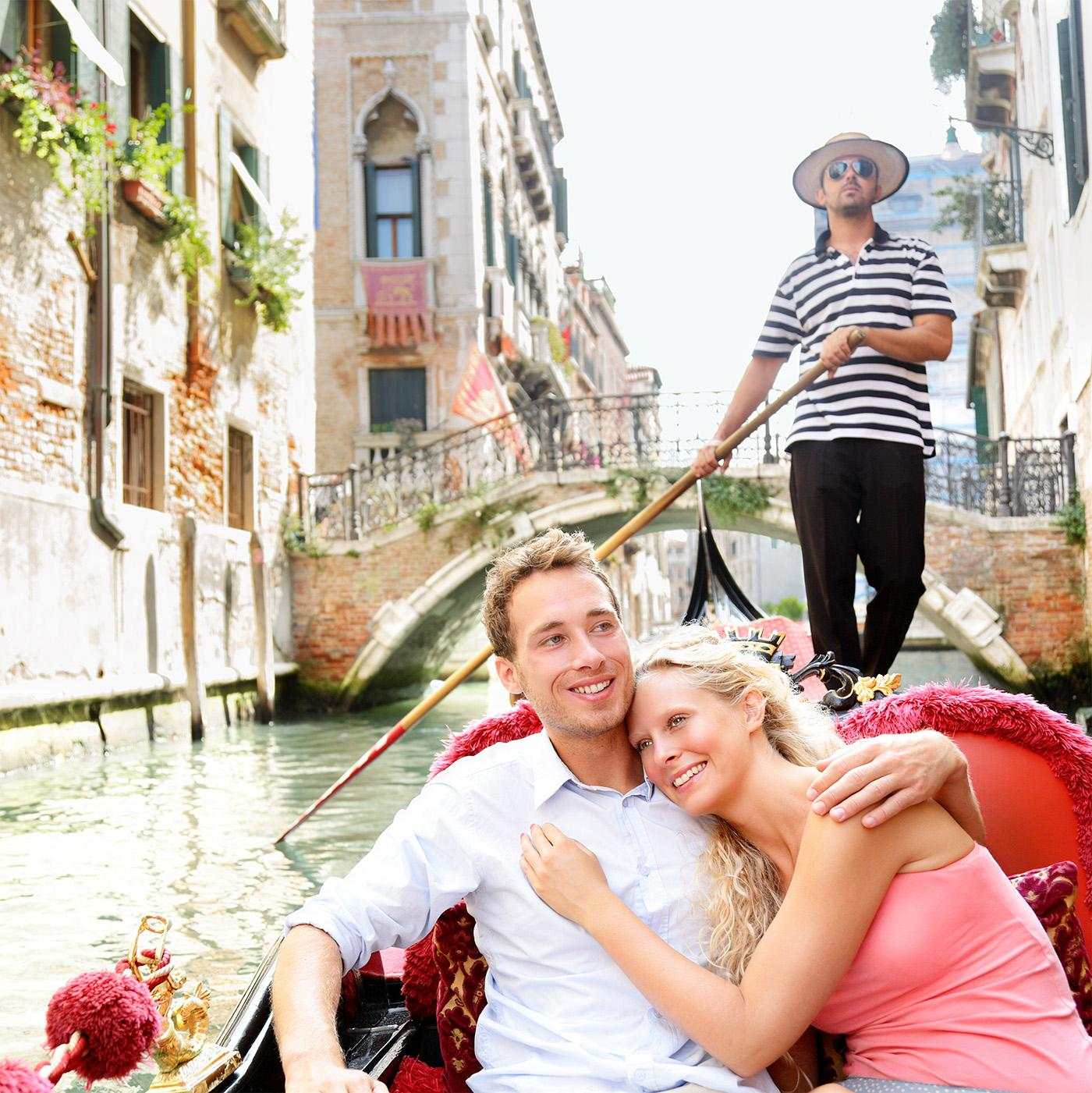 Experience a gondola ride through Venice