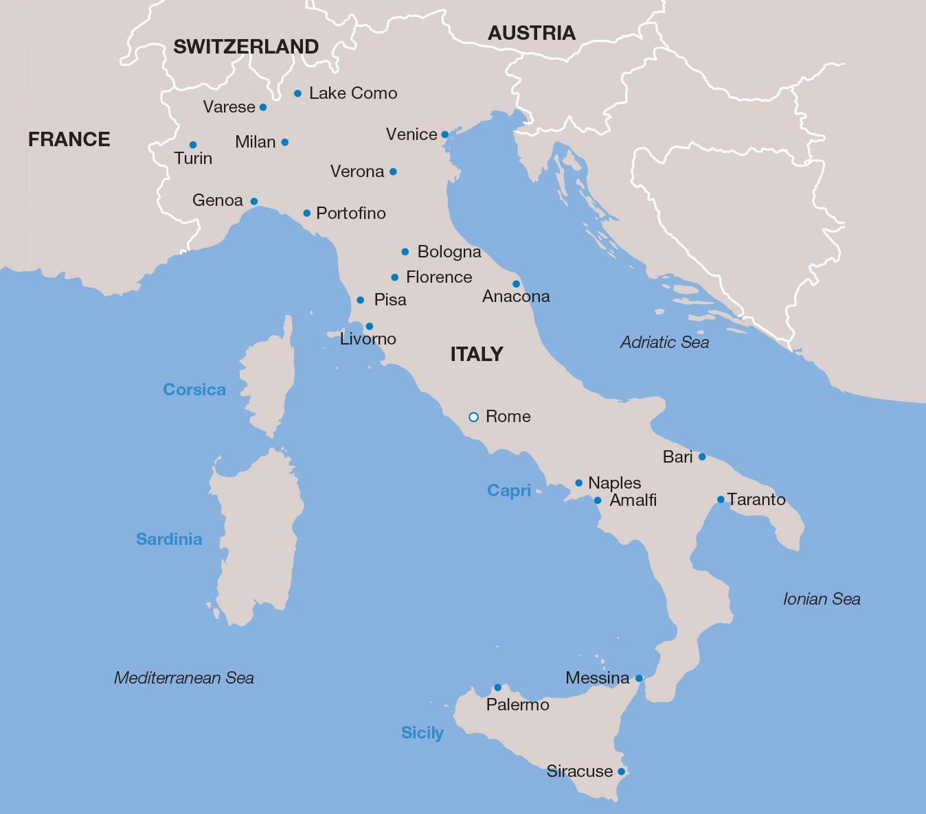 Italy Vacations map