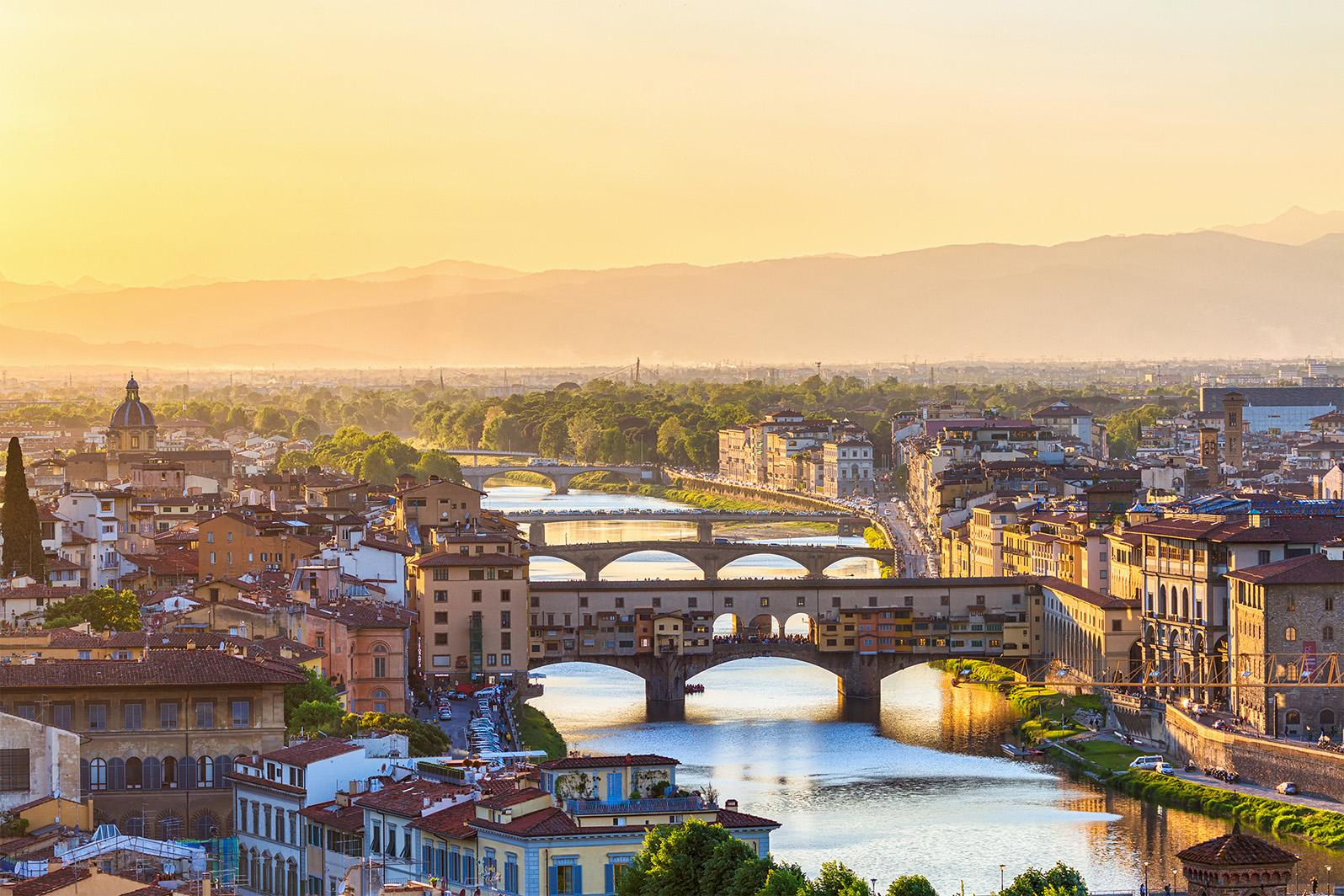 Breathtaking aerial view of Ponte Vecchio