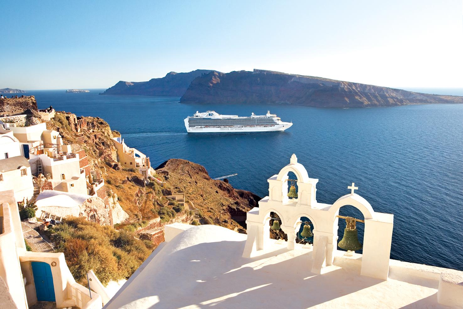 Views of Santorini and Greek islands with Mediterranean cruises