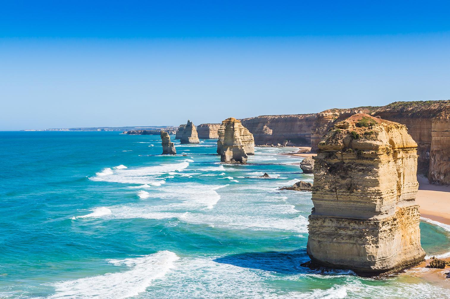 Views of Melbourne's coastline from the Great Ocean Road