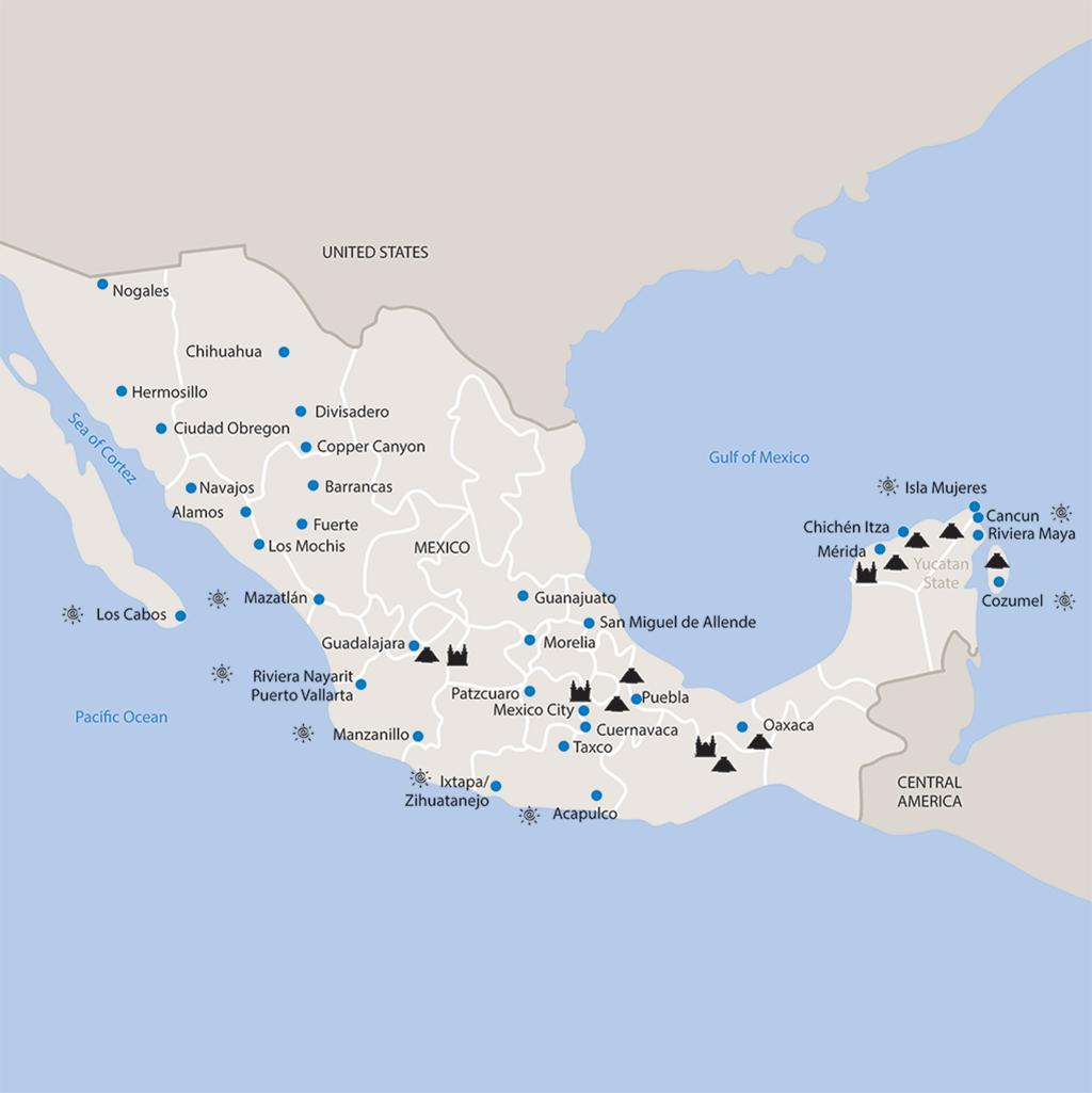 Mexico vacations map