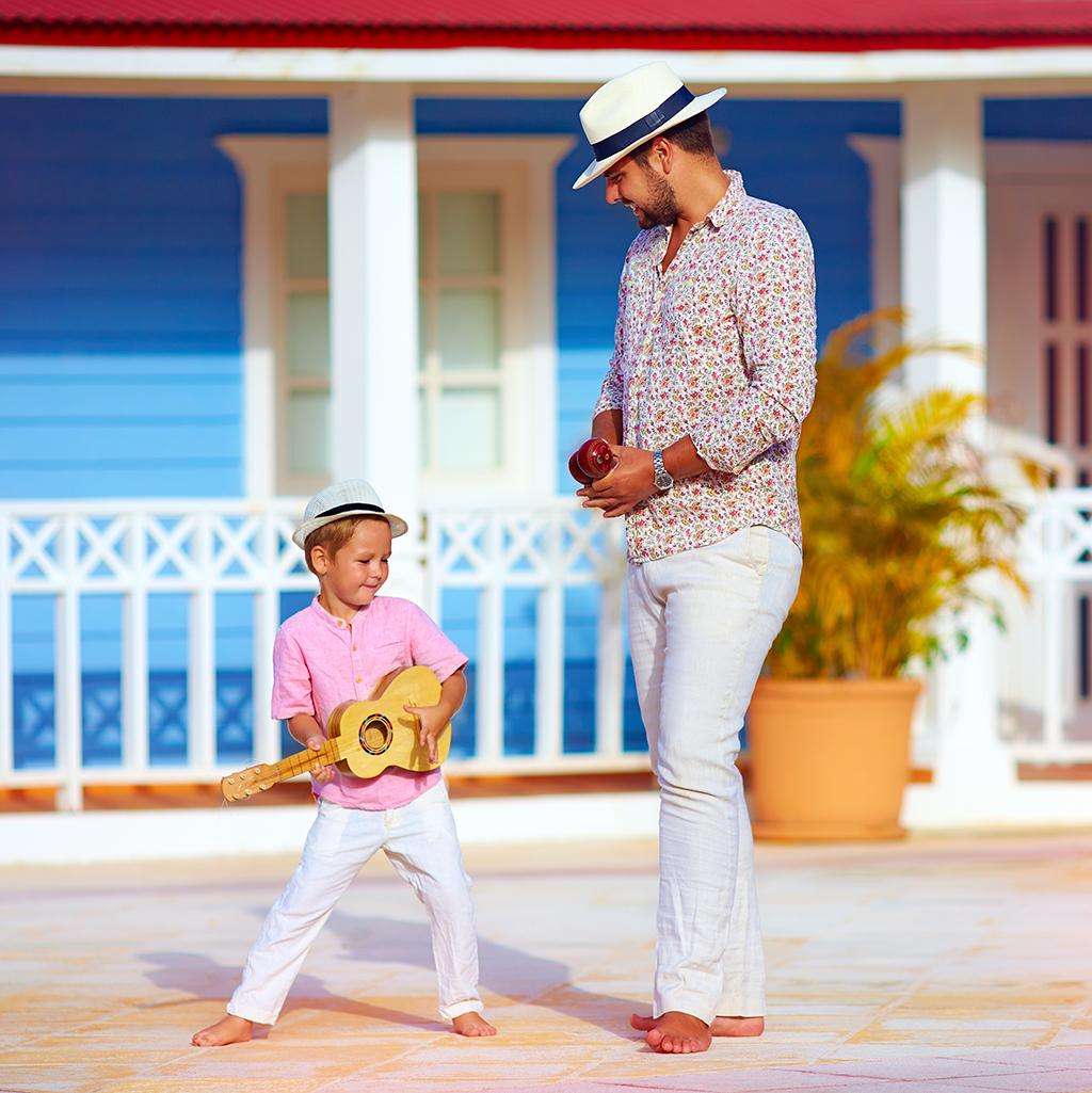 Father and son dancing in Panama City