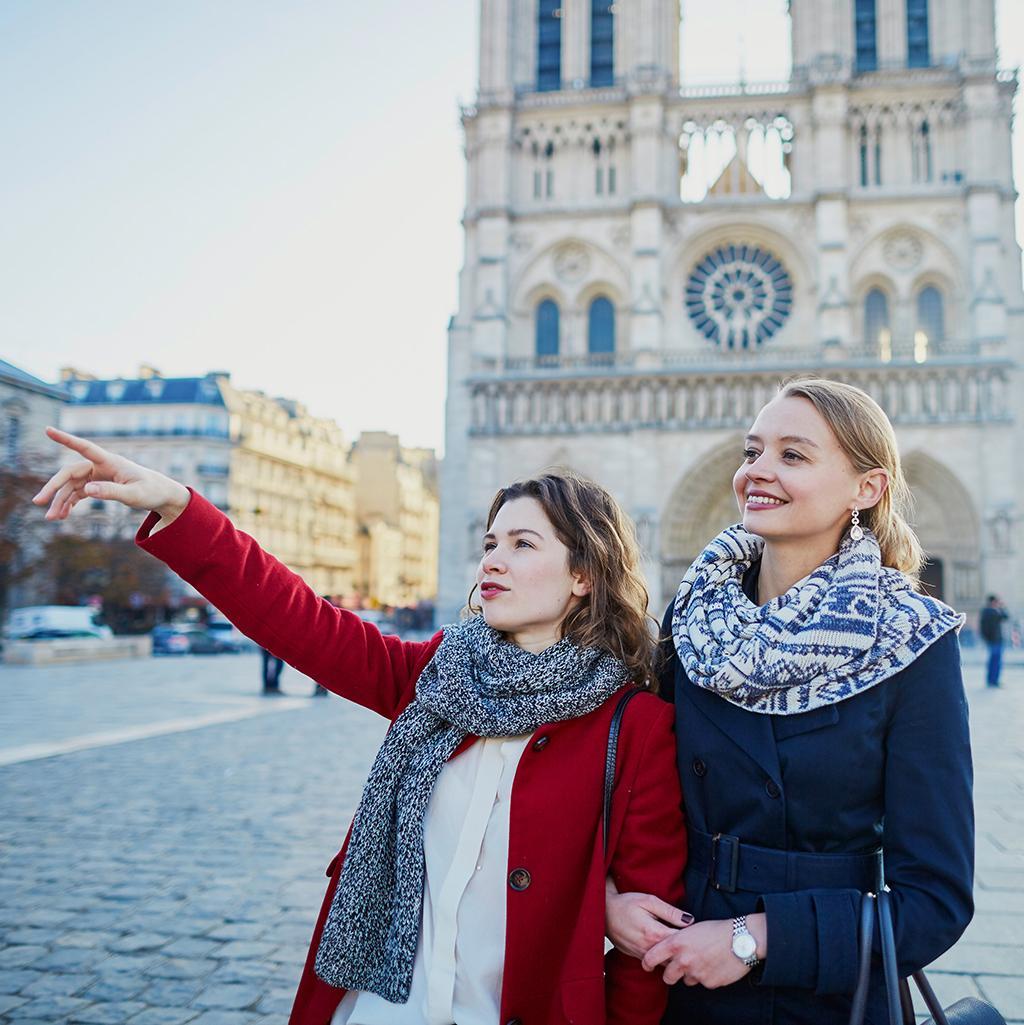 Views of Notre Dame in Paris France