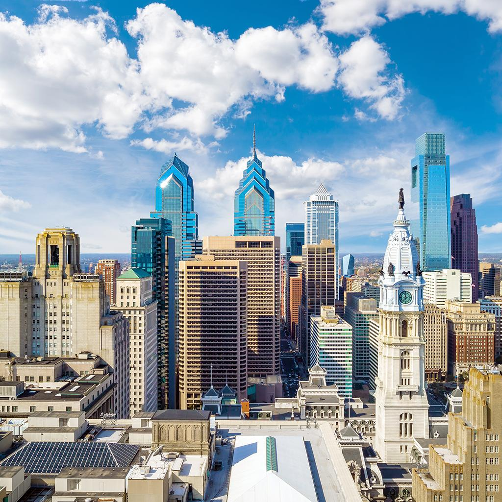 Philadelphia's skyline on a sunny day