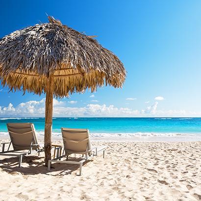 beach chairs on a beach in Mexico