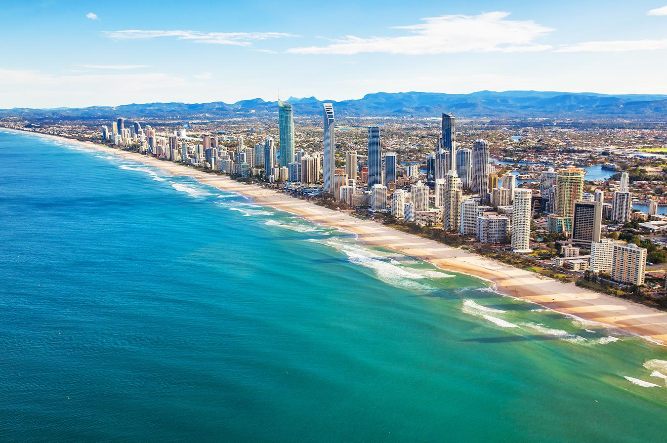 Views of Queensland's coastline with buildings and beaches