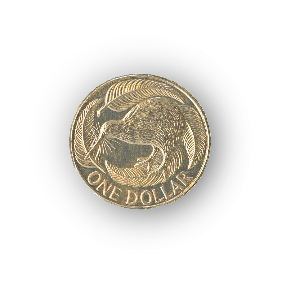 New Zealand's dollar coin from the South Island