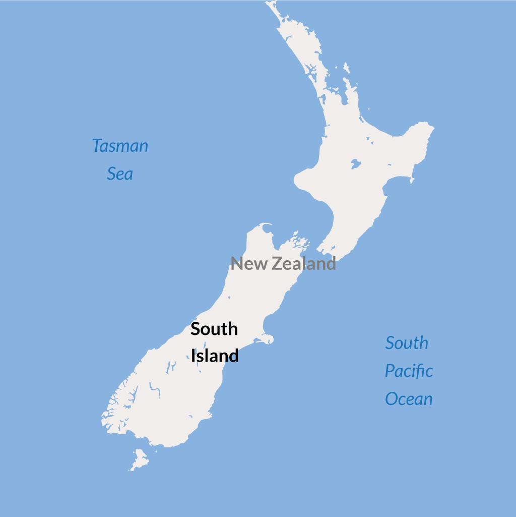 South Island NZ vacations map