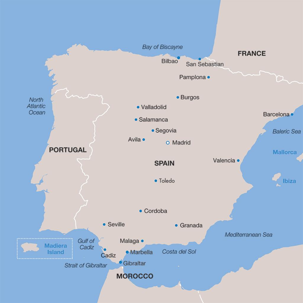 Spain vacations map
