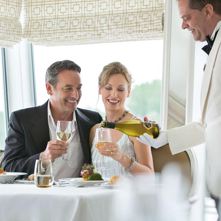 Enjoy wine and fine dining on the cruise