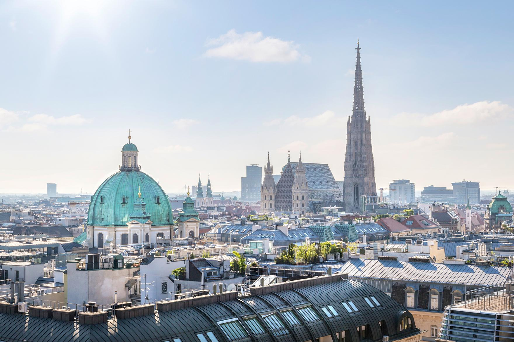 Elevated views of the city of Vienna