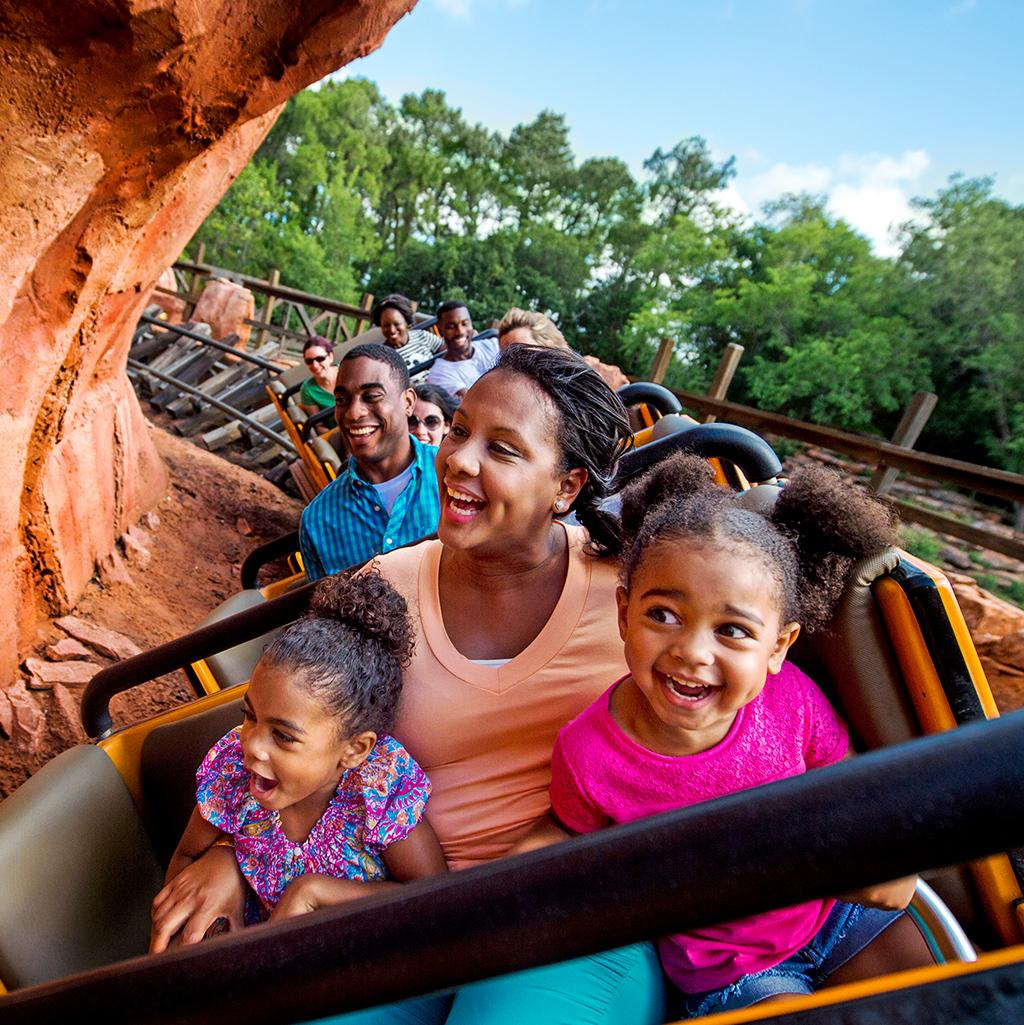 mother holding onto children on a roller coaster ride at WDW resort