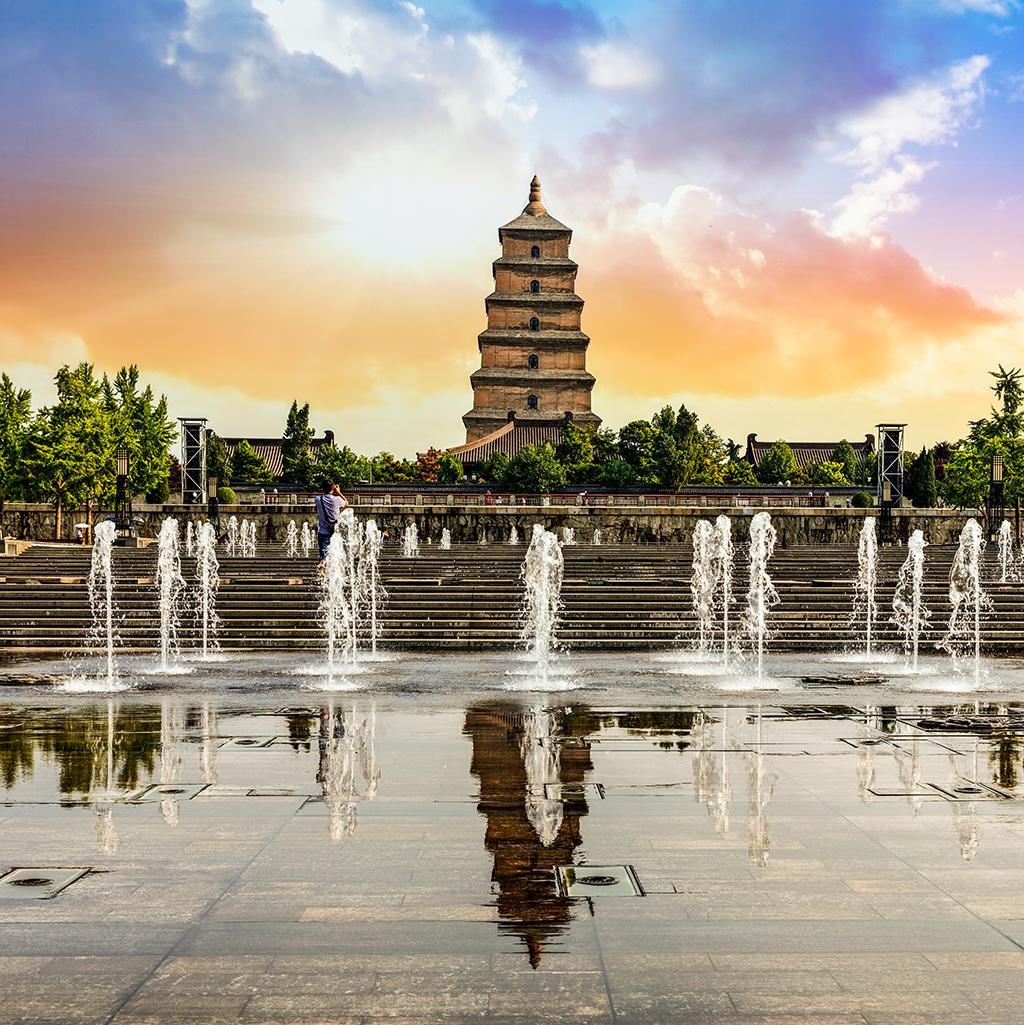 Views of the Big Wild Goose Pagoda in Xi'an China